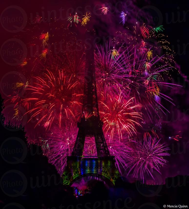 La Fête nationale Fireworks in Paris, France